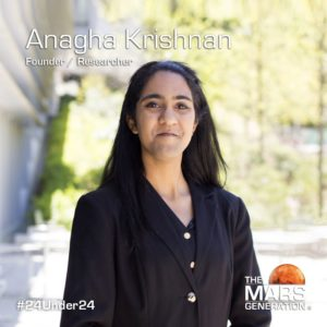 Anagha Krishnan_24 Under 24_Recipient_STEM Awards_The Mars Generation_2019