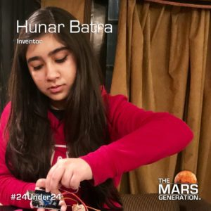 Hunar Batra_24 Under 24_STEM Awards_The Mars Generation_2019