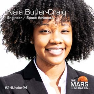 Naia Butler-Craig_24 Under 24 Recipient_STEM Awards_The Mars Generation_2019