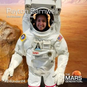 Payton Barnwell_24 Under 24_STEM Awards_The Mars Generation_2019