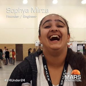Sophya Mirza_24 Under 24_Recipient_STEM Awards_The Mars Generation_2019