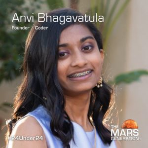 Mars Generation STEM awards 2020 Anvi Bhagavatula Founder Coder