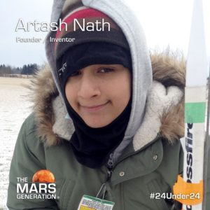 Mars Generation STEM awards 2020 Artash Nath Founder Inventor