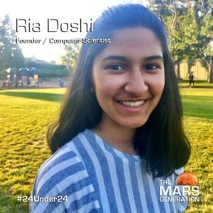Mars Generation STEM awards 2020 Ria Doshi Founder Computer Scientist