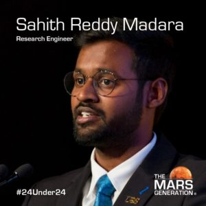 Mars Generation STEM awards 2020 Sahith Reddy Madara Research Engineer