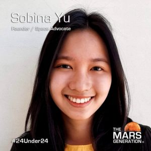 Mars Generation STEM awards 2020 Sobina Yu Founder Space Advocate